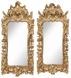 Fine Pair of Venetian Baroque Carved and Gilt Wood Mirrors from the Great Marsh Estate - To be auctioned on June 13 at Brunk Auctions