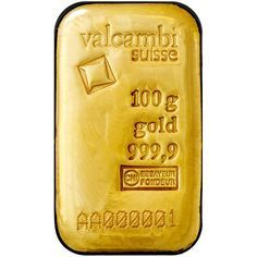 100 Gram Valcambi Cast Gold Bars From