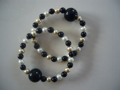 "Motion sickness bracelet set in ""Midnight Dream"" ~ A natural nausea remedy for morning sickness nausea, motion sickness, migraine headache nausea relief at http://www.queasybeads.com"