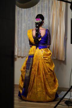 4 Lovely Wedding Looks That You Can Totally Draw Inspiration From! Lehanga Saree, Lehenga Saree Design, Half Saree Lehenga, Pattu Saree Blouse Designs, Silk Saree Blouse Designs, Fancy Blouse Designs, Saree Dress, Silk Dress, Indian Bridal Sarees
