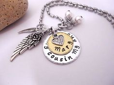 Cousin Memorial Jewelry, Cousin Memorial Necklace, My Cousin  My Angel, Cousin Bereavement, Loss of Cousin, Cousin Loss by CharmAccents on Etsy