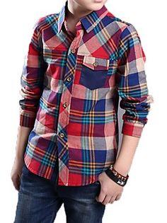 Menino de Camiseta,Casual Estampado Algodão Primavera / Outono Verde / Vermelho