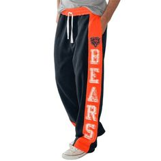 Chicago Bears Tackle Fleece Pants - Navy Blue/Orange