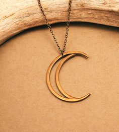 Crescent Moon Brass Necklace by Crow Jane Jewelry