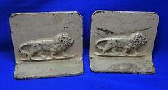 Antique German Lion Motive Iron Book Ends