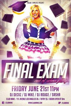Free Flyer Template: Final Exam Party Flyer - http://www.ffflyer.com/free-flyer-template-final-exam-party-flyer/ Free Flyer Template: Final Exam Party Flyer - The best way to promote your house or graduation party.  #Club, #Edm, #Exam, #Graduation, #House, #Indie, #Party, #School, #Sexy
