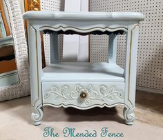 Ethan Allen French Provincial side table painted with Fusion Mineral Paint Little Whale and accented with antiquing glaze Upcycled Furniture, Painted Furniture, Favorite Paint Colors, Mineral Paint, Ethan Allen, French Provincial, Fence, Glaze, Minerals
