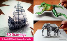 30 Beautiful 3D Drawings - 3D Pencil Drawings and Art works. Read full article: http://webneel.com/3d-drawings-pencil-art | more http://webneel.com/daily | Follow us www.pinterest.com/webneel