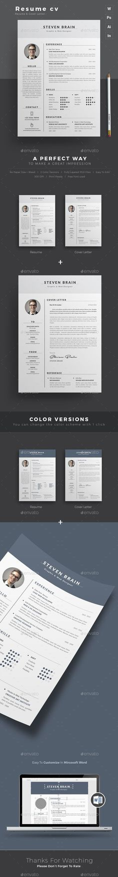 Resume / CV Template is made in Adobe Photoshop, Illustrator, Indesign format and very popular word processor, MS Word aka Microsoft Word