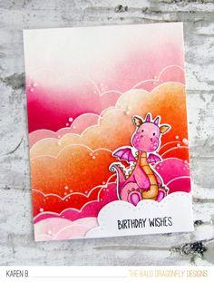 Card by Karen Baker (052017) [My Favorite Things (dies) Die-namics BB Magical Dragons; (stamps) BB Magical Dragons; (stencils) Cloud]
