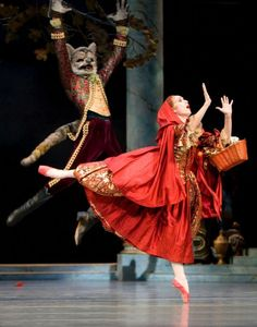 PNB soloist Chalnessa Eames as Little Red Riding Hood, pictured with the Grey Wolf in Act III of The Sleeping Beauty. Photo © Angela Sterling.