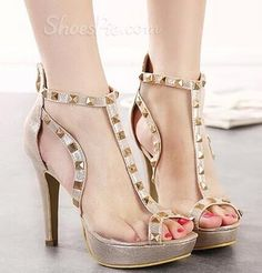 (via Exquisite OL Style Rivets Mesh Peep-Toe Dress Sandals)