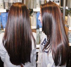 warm partial highlights in a deep rich brunette color using Wella colors and lighteners
