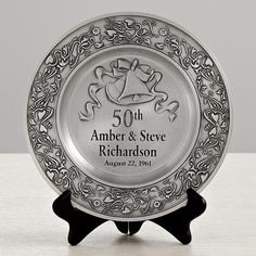 """Anniversary Pewter Plate $129.99 on Personal Creations Any anniversary year, 9"""" diameter - wall or black wooden easel, sold separately"""