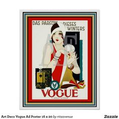 Art Deco Vogue Ad Poster 16 x 20    $15.00