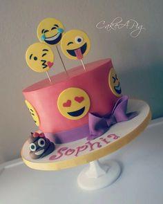 Pink and purple emoji birthday cake Bakery Tampa, Fl