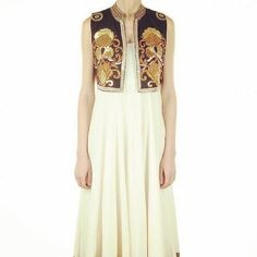 """""""White anarkali with gold border teamed up with a black handworked jacket  isnt it stunning? You can also order just the jacket Colour can be customised…"""""""
