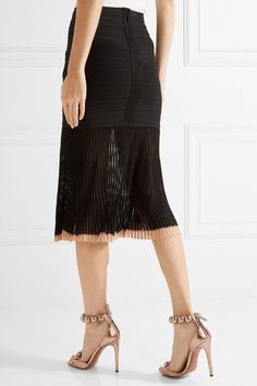 Hervé Léger - Ribbed-knit And Bandage Skirt - Black - xx small