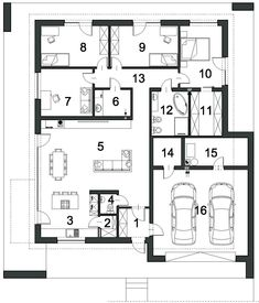 Wizualizacje Planer, House Plans, Floor Plans, How To Plan, Architecture, Modern, Small Bathrooms, Home Plans, Detached House