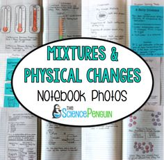 Physical Changes and Mixtures Science Notebook Photos~great way to see how the students Interactive notebook should look like 8th Grade Science, Middle School Science, Elementary Science, Science Classroom, Classroom Ideas, Future Classroom, Teaching Chemistry, Science Chemistry, Physical Science