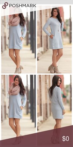 price ⬇️Sweatshirt dress with pockets This light blue sweatshirt dress is the perfect addition to your wardrobe this fall! Pair it with some boots and a scarf to make an adorable outfit! 70% cotton 30% polyester. This is so comfortable and warm!! Dresses Midi