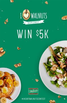 Submit a walnuts recipe and you could win $5,000! Post to Instagram with #IHeartWalnutsContest or submit online here: www.walnuts.org/IHWContest