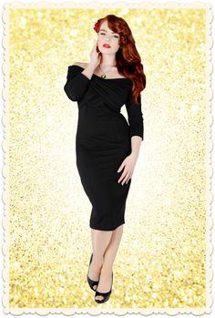 Petite robe noire glamour en maille, effet drapé-croisé au buste et bien moulante. Modèle Hollie, par collectif Clothing via missretrochic.com