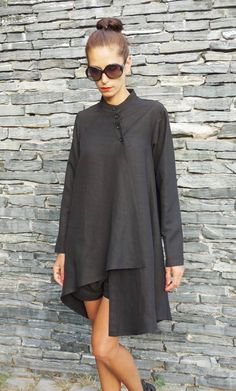Items similar to NEW COLLECTION Black Linen Shirt / Extravagant Buttoned Shirt / Asymmetrical shirt / Oversized Stylish Top by Aakasha on Etsy hashtags Young Fashion, Love Fashion, Moda Chic, Stylish Tops, Fashion Updates, Mode Hijab, Black Linen, Home Entertainment, Western Outfits
