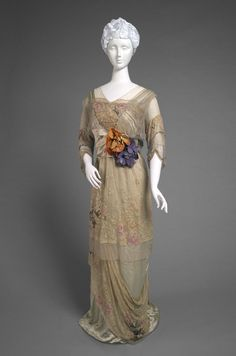Woman's Dinner Dress c.1910 Silk satin, hand-painted lace, and rhinestones