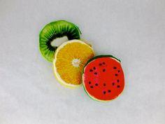 Fruit Coin-Purse / Set of 3 / Kiwi / Orange / by sarmaek on Etsy