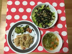 洋風カオマンガイ フライ サラダ コンソメスープ