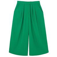 Calça pantacourt pregas - verde