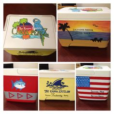 Custom frat painted cooler! Margaritaville, beach, Southern Tide, Landshark, American flag