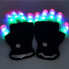 Kids' Karaoke Machine Accessories - MaMaMiYa 7 Mode LED Flashing Light Up Gloves Rave Light Finger Lighting Glow Gloves White black Xmas gift *** Learn more by visiting the image link.