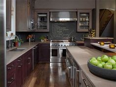 Check out the chalkboard paint backsplash. So neat.