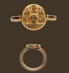 The ring is a very fine example of the marriage ring most popular in early Byzantine times. The presence of Christ and the cross between the bride and groom emphasizes the piety of the couple and the protection of Christ, 6th century A.D.
