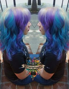 Blonde purple blue dyed hair
