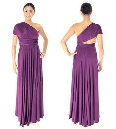 Plum Purple Long Sakura Convertible Dress