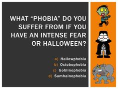 Halloween Trivia: If you have an intense fear of Halloween, you suffer from Samhainophobia. Halloween Trivia, Halloween Facts, October Calendar, Phobias, Lunch Time