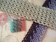 Pieces of macrame knotting in different cord weights