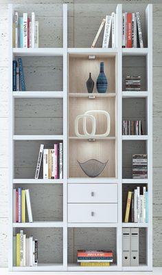 Bücherregal weiß modern  Hyper Bibliothek Bücherregal mit Leiter weiß ahorn wildeiche ...