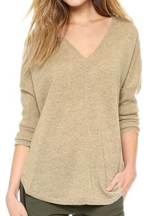 Pretty Women V-Neck Full Sleeve Pure Color Loose Knitted Leisure Pullover Sweater on buytrends.com