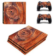 Wooden Board PlayStation 4 pro skin decal for console and controllers