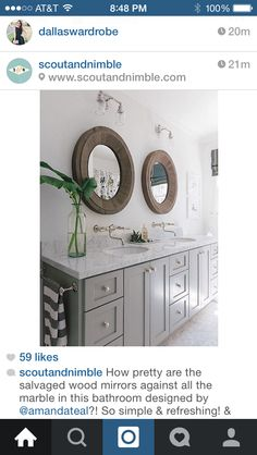 Gray with Formica Calcutta marble and wood mirror for master bath