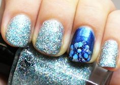 Blue Winter Dot Manicure with Holographic Glitter - A Sparkly Life for Me