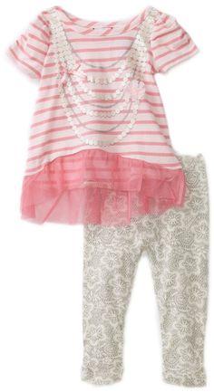 Raya Túnica bebé Togs Niñas bebés 'Con Impreso Capri Legging, Rosa / Gris, 12 Meses