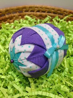 Folded fabric ornament quilted holiday ornament turquoise folded fabric ornament quilted holiday ornament turquoise yellow bow easter decoration christmas tree handmade gifts under 20 blue and negle Gallery