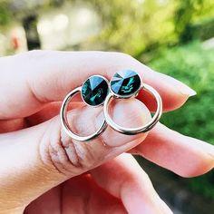 Emerald Green Earrings   Emerald Swarovski Earrings   Nicola   Bidiliia Swarovski Ring, Swarovski Crystals, Emerald Green Earrings, Stud Earrings, Ring Necklace, Crystal Drop, Jewelry Making, Gemstone Rings, Silver Rings