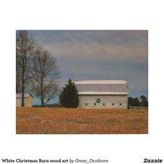 White Christmas Barn wood art