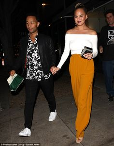 Just the two of us: John Legend and Chrissy Teigen enjoyed a night out alone as they were spotted grabbing dinner at Madeo Restaurant in West Hollywood on Monday